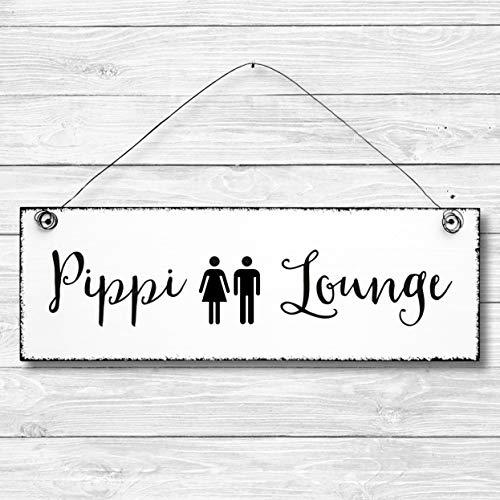 Pippi Lounge - Toilette Dekoschild Türschild Wandschild aus Holz 10x30cm - Holzdeko Holzbild Deko Schild