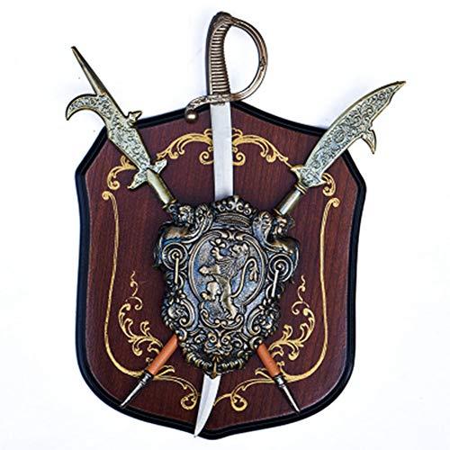 SDBRKYH Caballero Medieval Espada y Escudo, decoración de la Pared Medieval, Antiguo Escudo de la Espada Romana, Adorno Colgante de Pared de Hierro Forjado,C