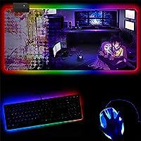 マウスパッドノーゲーム・ノーライフアニメRGBラージゲーミングマウスパッド特大グローイングLed拡張マウスパッド滑り止めラバーベースコンピューターキーボードパッド-C_300mm_x_800mm_x_4mm