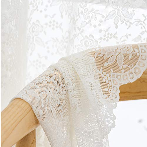 Cream Rose Knitted Lace Semi Sheer Curtains Window Drapes for Bedroom Living Room Rod Pocket Retro Style Vintage to Light Filtering Airy Set of 2 Panels 84 Inchs Long