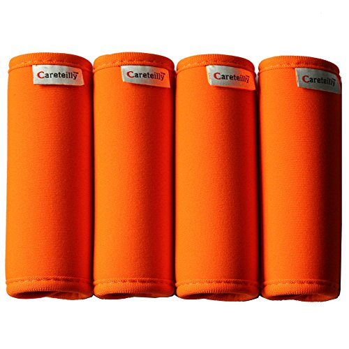 Careteilly Neoprene Luggage Handle Wrap And Tags Fluorescent Orange Luggage Identifiers For Traveling Dumbbells Wrap