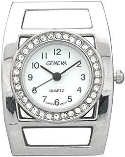Geneva Silver Rectangular Watch Case with Rhinestones Around Circular Face (Silver)