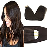 GOO GOO 22inch Human Hair Extensions Tape in Dark Brown Remy Hair Extensions Silky Straight Tape in Natural Hair Extensions 50g 20pcs