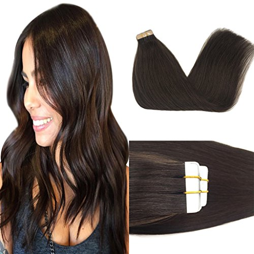 GOO GOO 20inch Hair Extensions Tape in Dark Brown Remy Human Hair Extensions Silky Straight Tape in Natural Hair Extensions 50g 20pcs