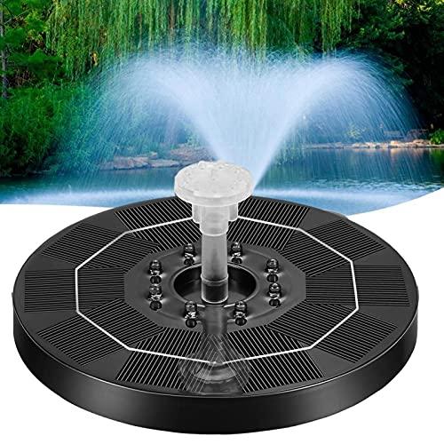 SDFLKAE Zonnefontein pomp, zonne-waterpomp, 3W drijvende fontein LED-verlichting, 6 sproeiers, geschikt voor vogelbad, vistank (zwart)