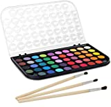 Washable Watercolor Paint Set, 48 Vivid Colors and 3 Paint Brushes Includes Watercolour Mixing Palette Perfect for Artists, Beginner Painters, Kids and Adult Painting