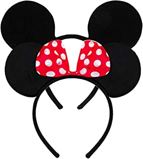 FANYITY Set of 2 Mouse Ears Headbands Sequin Hair Band for Girls Women Boys Party (RED POINT&BLACK)