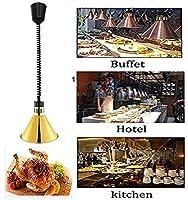 OESFL レトロな保温ランプメタル天井ランプ高さ調節可能な調節可能な食品の加熱ランプは、カフェテリア/ホテル/パーティーのために使用されます (Color : Gold)
