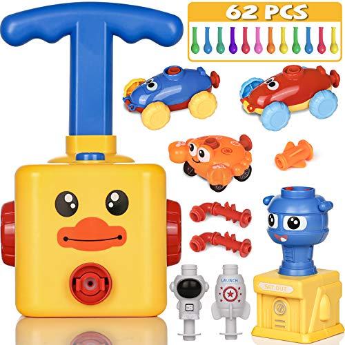 PartyWoo Powerballon Set, 72 Stück Ballon Auto mit Pumpe, Luftballon Spielzeug, Power Ballon für Kinder, Powerballon Spielzeug, Ballon Angetriebenes Ballon Auto, Geschenke für Kinder (Gelbe Ente)