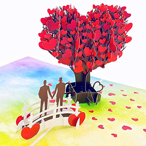 Liif Gay Valentines Day Love Couple Heart Tree 3D Greeting Pop Up Card, LGBT, Rainbow, Pride, Anniversary, Wedding, Congratulations, Engagement, Birthday Card - For Men, Him, Partner, Lover, Couple
