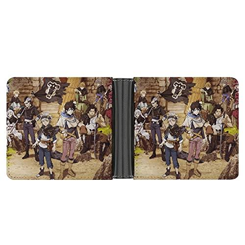Trébol negro de cuero Bi-fold cartera suave durable suave portátil negocio simple delgado