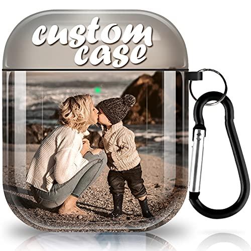 Custom AirPods 2&1 Hülle, Personalisierte Geschenkstoßdämpfung Soft Opaque TPU Cover Entwerfen Sie Ihre Eigene Airpods Schutzhülle Für Apple AirPods mit Schlüsselanhänger