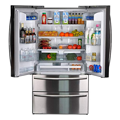 SMETA 36 Inch Counter Depth French Door Refrigerator Bottom Freezer, Fingerprint Resistant, 20.66 cu ft Capacity, Stainless Steel