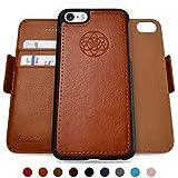 Dreem Fibonacci 2-in-1 Wallet-Case for iPhone 5/5s/SE1, Magnetic Detachable Shock-Proof TPU Slim-Case, RFID Protection, 2-Way Stand, Luxury Vegan Leather, GiftBox - Caramel