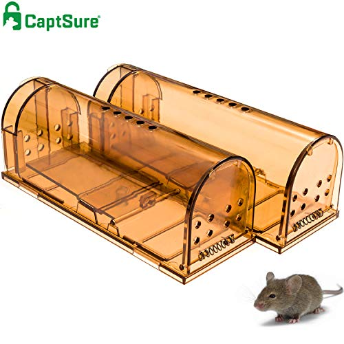 CaptSure Original Humane Mouse Traps, Easy to Set, Kids/Pets Safe, Reusable for...