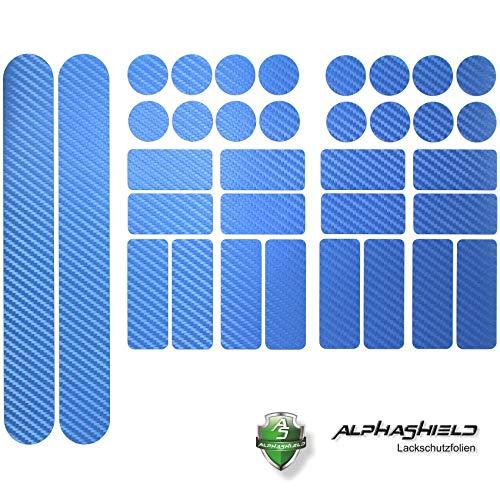 Finest Folia 34 Teiliges Fahrrad Rahmen Schutzfolie Folie Aufkleber Schutz MTB BMX Kette Lackschutzfolie K098 K100 (Carbon Blau)