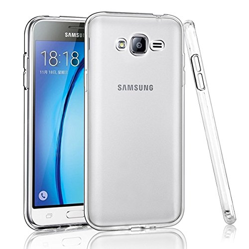 NEW'C Coque Compatible avec Samsung Galaxy J3 2016, Ultra Transparente Silicone en Gel TPU Souple Coque de Protection avec Absorption de Choc et Anti-Scratch