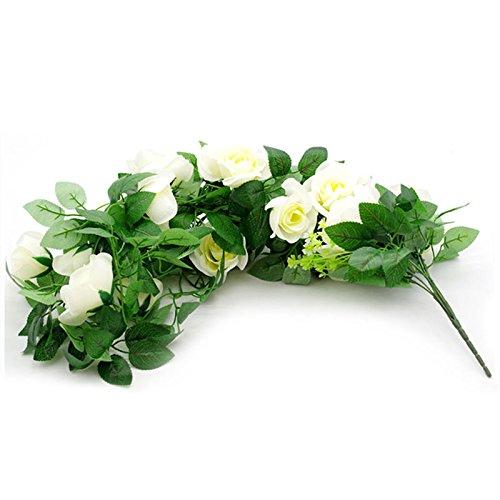 zyurong Lot de 2 artificielle à suspendre Fleur Rose Vigne Fleur en soie Ivy Plante Laisse Guirlande pour fête de mariage Jardin Décoration murale Panier de fleurs (non inclus) B: Milky White