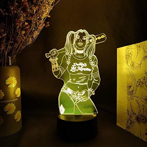 Suicide Squad 3D Phantom Lights Cool Family Party Navidad vacaciones decoración retroiluminación regalo LED sensor noche luz erjie