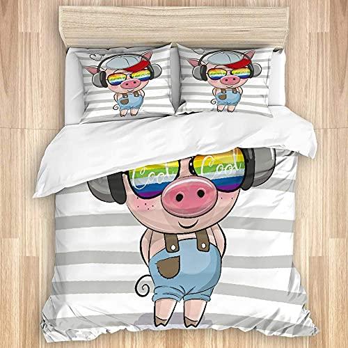 KOSALAER Funda de edredón,Lindo cerdo con gafas de sol,Juego de cama de lujo de microfibra suave con cierre de cremallera