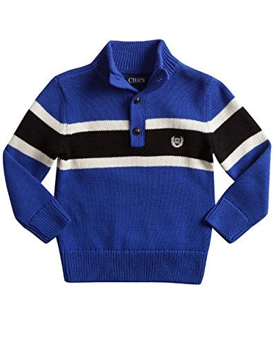 Chaps Toddler & Boys 1/2 Button-Front Striped Mockneck Sweater (3/3T, Active Royal)