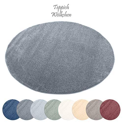 Designer-Teppich Pastell Kollektion | Flauschige Flachflor Teppiche fürs Wohnzimmer, Esszimmer, Schlafzimmer oder Kinderzimmer | Einfarbig, Schadstoffgeprüft (Dunkelgrau, 150 cm rund)