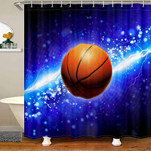 Loussiesd Cortina de ducha de baloncesto para niños, adolescentes, 3D América Fútbol cuarto de baño cortina de ducha de tela impermeable para decoración de dormitorio azul 180 x 180 cm