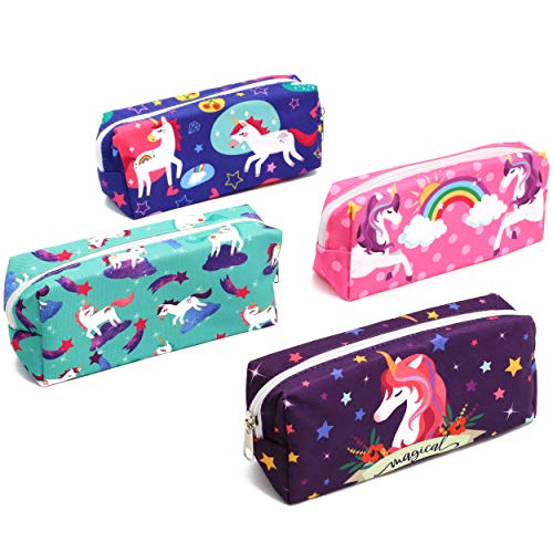 Unicorn Pencil Case Cute Pencil Bag School Supplies, Travel Cosmetic Makeup Bag for Women (4 Pack)
