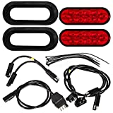 Partsam Red Cargo Carrier Led Lights Kit, 2Pcs 6 Inch Oval Waterproof Tail Lights with Rubber Grommets, 76