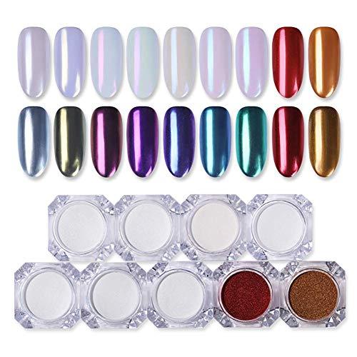 Born Pretty Spiegelpulver, 1g, Gold, Blau, Lila, für Maniküre, Nail Art, mit Glitter,...