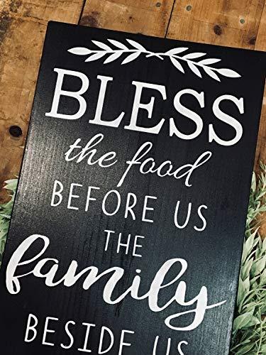 HRHRHREU Cartel de madera con texto en inglés 'Bendice la comida antes de nosotros' para decoración de pared de cocina, comedor, decoración de pared, letrero cristiano, negro, letrero rústico pintado de madera