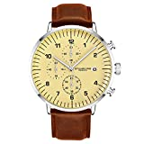 Stuhrling Original Chronograph Uhren für Männer Leder Uhrenarmband Analog Dial mit Datum - 3911L Mens Watches Collection (Brown)