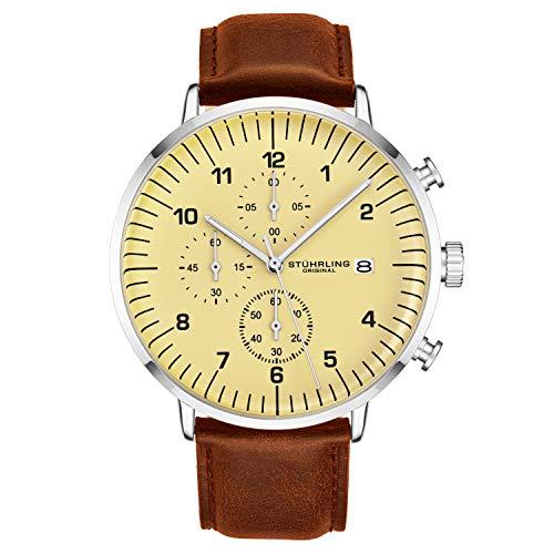 Stuhrling 3911 - Reloj cronógrafo original para hombre, correa de piel o malla, esfera analógica con fecha, colección de relojes para hombre