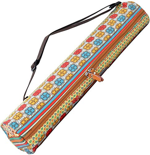 #DoYourYoga Borsa da Yoga »Sunita« / Yoga Mat Bag Made of High-Class Canvas, for yogamats/pilatesmats up to 186 x 63 x 0,6 cm. Pattern 1