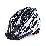 SAMEBIKE Casco da Bici 57-61CM con Visiera Staccabile, Casco da Bici Elettrica da Montagna Caschi da Bicicletta Leggeri da Ciclismo Cinturino Regolabile per Uomo Adulto Donna (Nero + Bianco)