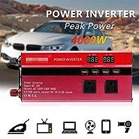 4000W Car Solar Power Inverter Sine Wave LED 4 USB DC12/24V To AC110V/220V Sine Wave Converter Solar Automobiles Power Inverter