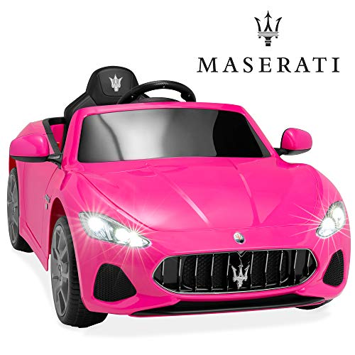 Best Choice Products Kids 12V Licensed Maserati GranCabrio Ride On Sports Car w/Remote Control, AUX, LED Lights - Pink