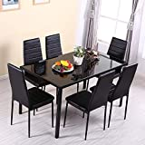OUTDOOR DOIT High Gloss Dining Table Set With 6 PU Leather Chairs Morden Kitchen Dining Table Dining Room Furniture (Black)
