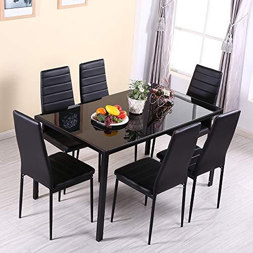 OUTDOOR DOIT Hochglanz-Esstisch-Set mit 6 PU-Ledersesseln Moderne Küche Esstisch Esszimmermöbel (Schwarz, 140)