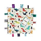 FOMUNI Baby Soft Touch Comforter Blanket with Tags,12 X 12 inch Tag Comforter, Comfort Security Blanket Gift for Toddler Child Kids, Dinosaur Comforter Blanket-Large Size
