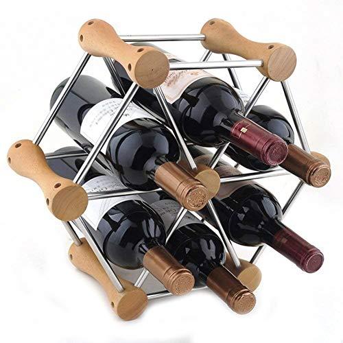 GLYYR Botelleros Estante de Vino Soporte de Madera de 6 Botellas Sin Soporte de Almacenamiento Independiente, de Madera, 37x14x33cm (Color : Wooden, Size : 37x14x33cm)
