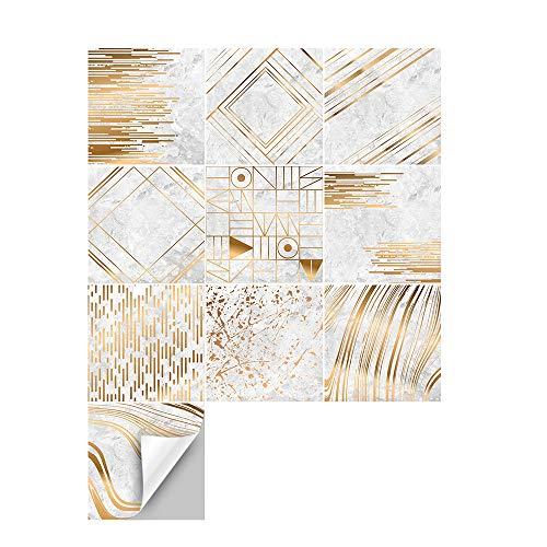 Hiser 10 Piezas Mármol Patrón Adhesivos Decorativos Azulejos Pegatinas para Baldosas del Baño, Cocina Estilo Mediterráneo Resistente al Agua Pegatina de Pared (Rayas geométricas,20 x 20 cm)