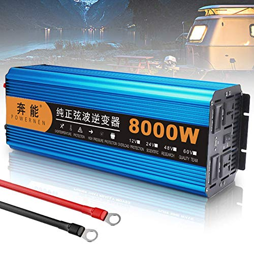 QTCD Power Inverter DC 12V/24V to AC 220V 230V 240V, Pure Sine Wave Inverter 3000W 4500W 6000W 8000W Converter, USB Charging Port and Direct Connection to Battery for Travel Trip,24V-8000W