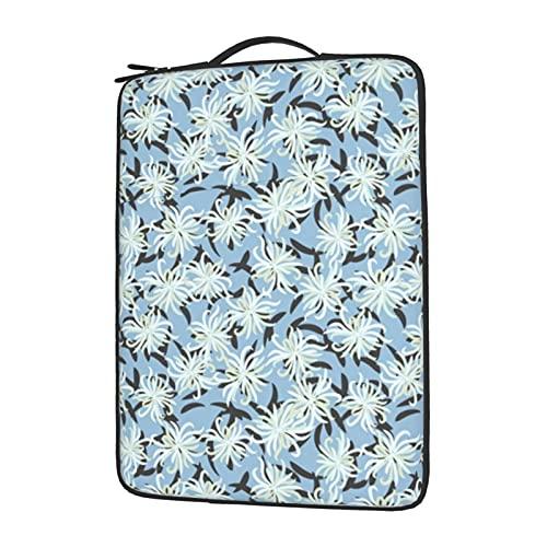Funda para ordenador portátil de 13 a 15,6 pulgadas, con diseño de flores blancas en azul, resistente al agua, compatible con...