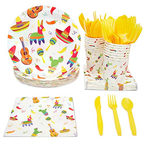 Fiesta Party Supplies, Paper Plates, Plastic Cutlery, Cups, and Napkins (Serves 24, 144 Pieces)