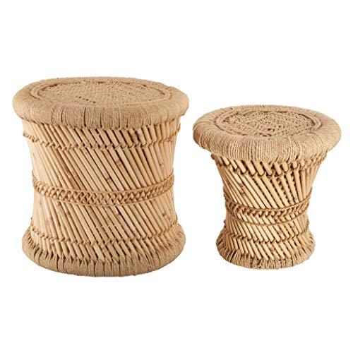 Set aus 2 niedrigen Satztischen aus Bast und Bambus
