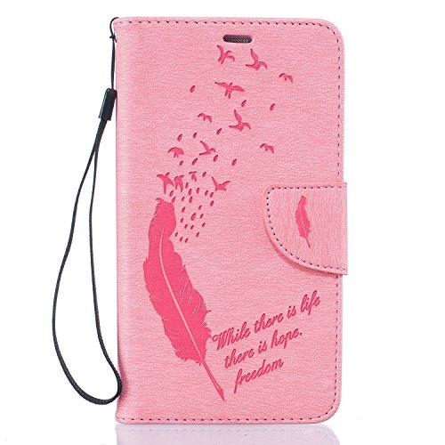 Huawei Y625 Hülle, Dfly PU Leder Tasche Handyhülle im Bookstyle mit Magnet Kartenfächer Standfunktion für Huawei Y625, Rosa
