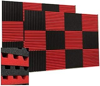 "48 Pack Black/red 12""X 12""X1"" Acoustic Panels Studio Soundproofing Foam"