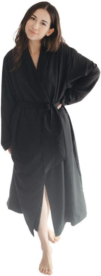 Telegraph Hill - Double Layer Twill Robe | Soft Microfiber Spa Bathrobe (Large, Black)