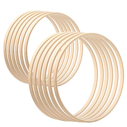 Sntieecr 12 Pack 2 Sizes Wooden Bamboo Floral Hoop Wreath Macrame Craft Hoop Rings for DIY Christmas Wreath Decor, Dream Catcher and Wall Hanging Crafts (6 Inch & 8 Inch)